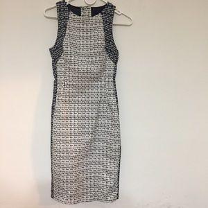 Zara Basic Dress Sz XS Textured Sheath White Black